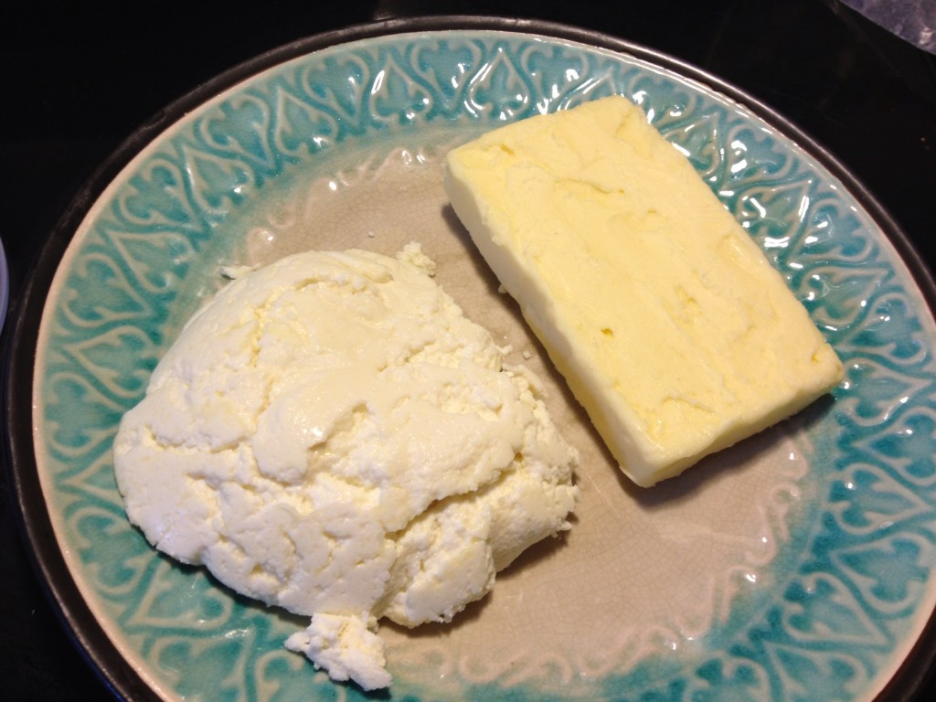 Fresh cheese and butter from half gallon of cream.