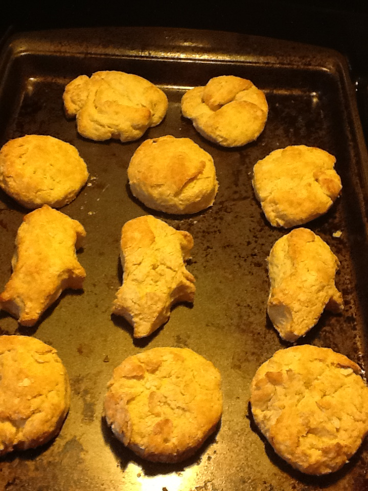 Bread Boars coming out of the oven with my buttermilk biscuits.